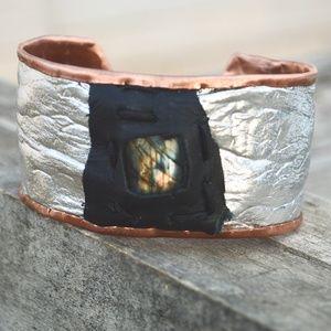 Silver Leather Copper Labradorite Cuff Bracelet